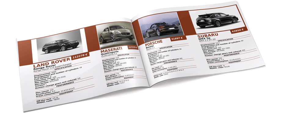 Car Catalog Template in IDML and InDesign Data Merge Template