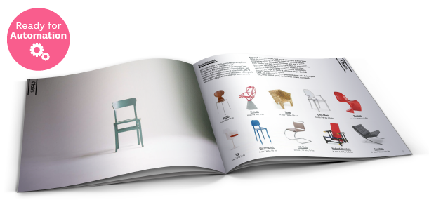 Image of a double spread page of Furniture Catalog Template.