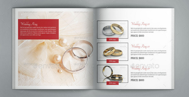 Image of jewelry catalog. The product layout is made of a an image, prodcut name, description and price of the item.