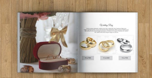 Image of spread of a jewelry catalog. A good mix of in-context image