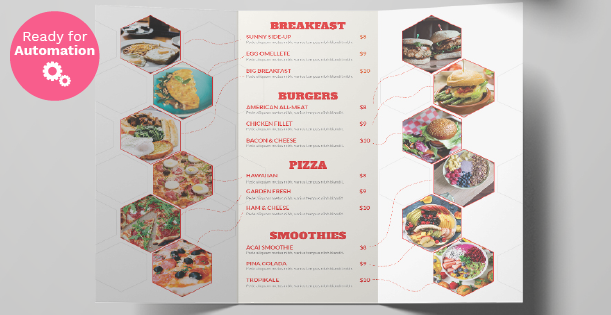 Image of a trifold fastfood menu template
