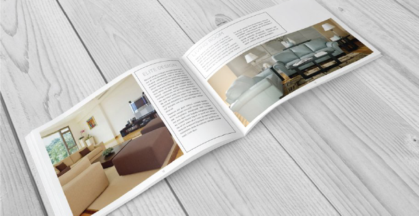 Image of a double page of a furniture catalog template, made of in-context photos of interior design and long descriptions.