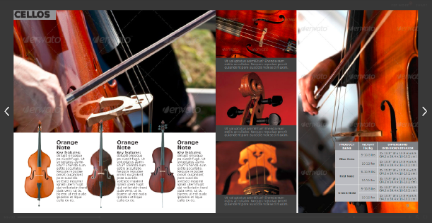 Image of a double page of an auction catalog template for musical instruments