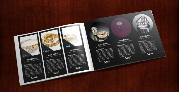 Image of a double page of a Jewellery catalogue. There are displayed six different products, each one within its vertical layout.