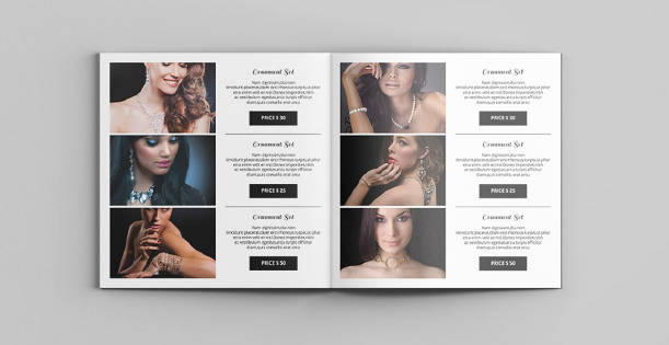 Image of a double page of a jewellery catalogue. Thera are three product layouts per page. Each one is made of a photo and the product information.