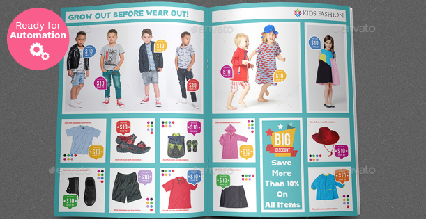 Image of a double page of a Kids Fashion Brochure Template