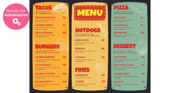 Image of a tri-fold menu template