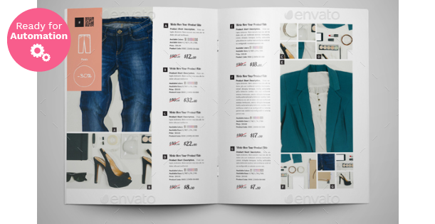 Image of a double page of a Product Catalogue Template InDesign