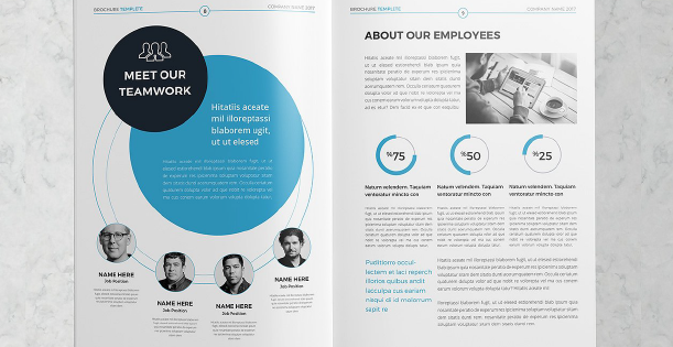 Image of a double page of a professional brochure template