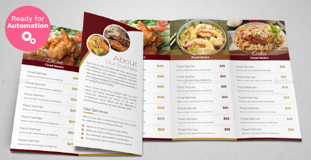 Image of a trifold menu template