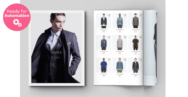 Image of a double page of an Apparel Catalog Template