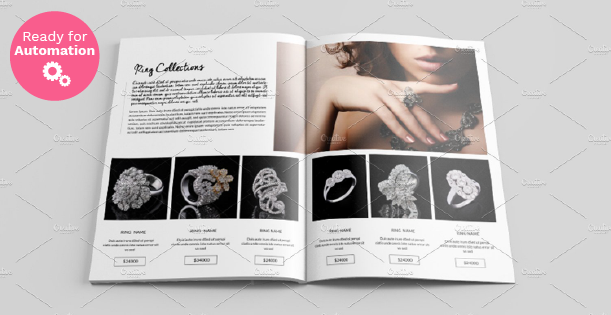 Images of a spread page of tidy jewelry catalog.