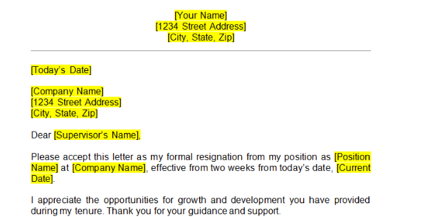Resignation Letter Template Word from pagination.com